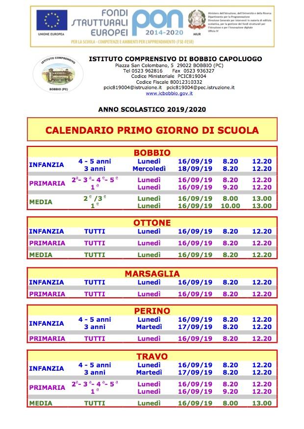 Calendario Classe Prima.Istituto Comprensivo Statale Di Bobbio Pc