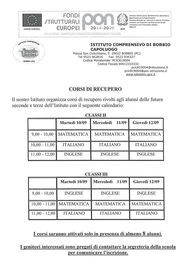 Calendario Vaccini 2020.Istituto Comprensivo Statale Di Bobbio Pc